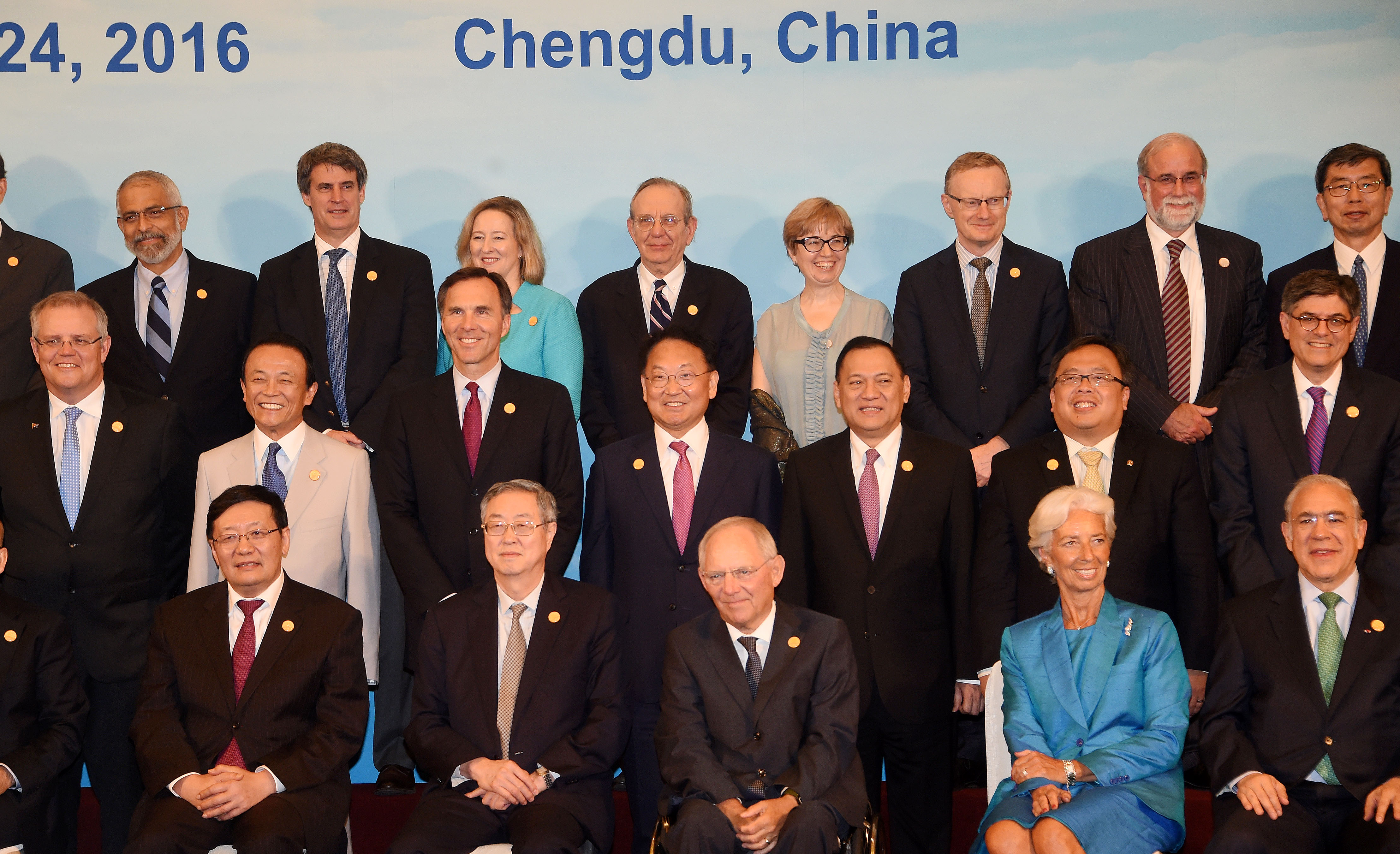 Deputy Prime Minister Yoo poses for G20 Finance Ministers and Central Bank Governors Meeting group photo in Chengdu, China